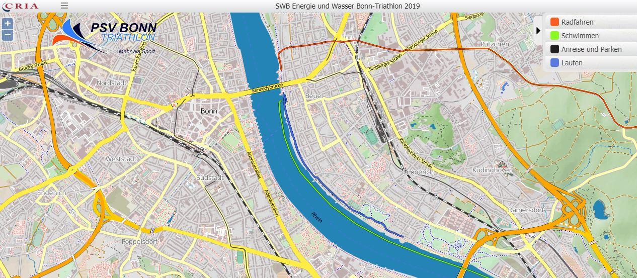 Bonn Karte.Radstrecke 29 Swb Energie Und Wasser Bonn Triathlon